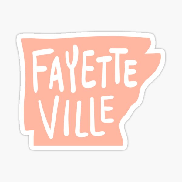 Fayetteville Arkansas - State Outline in Coral Pink Sticker