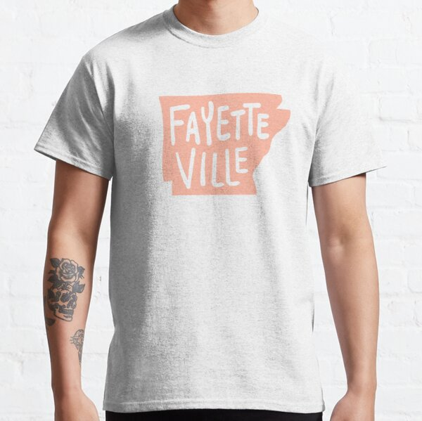 Fayetteville Arkansas - State Outline in Coral Pink Classic T-Shirt