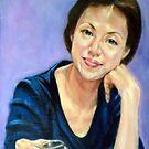 woman in blue dress 5 by Hidemi Tada