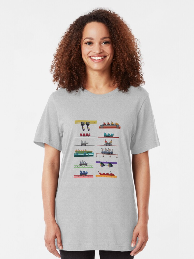 Alternate view of Six Flags Over Texas Coaster Cars Design Slim Fit T-Shirt