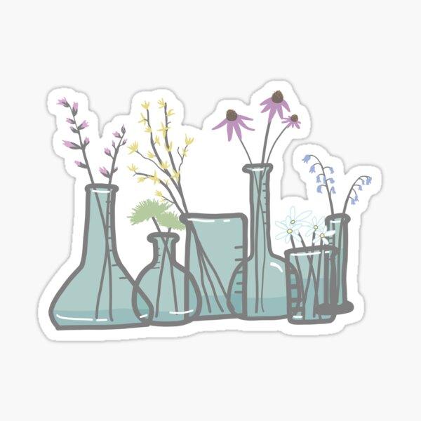 Flowers in Beakers Sticker