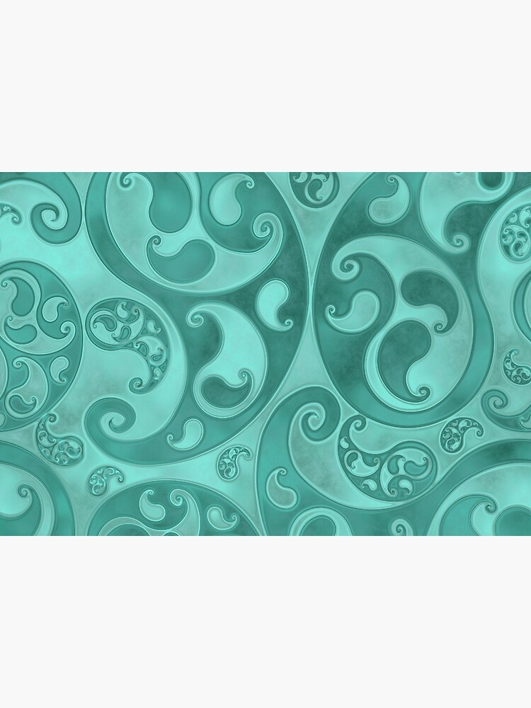 Turquoise Paisley Swirls and Spirals Pattern by RootSquare