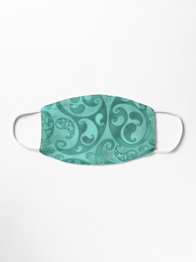 Alternate view of Turquoise Paisley Swirls and Spirals Pattern Mask