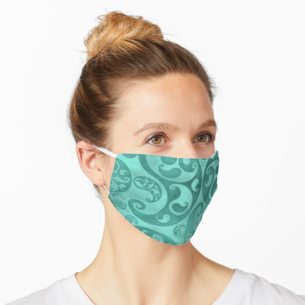 Turquoise Paisley Swirls and Spirals Pattern Mask