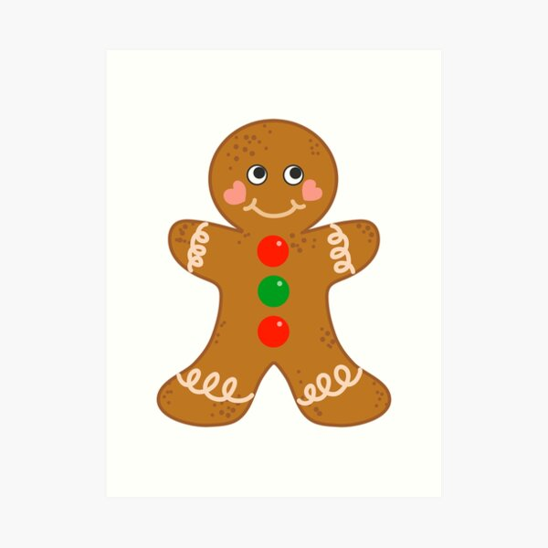 Holiday Gingerbread Man Christmas Cookie Baking Love Art Print