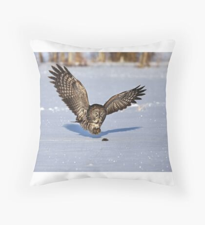 Great Grey owl catches a mouse Throw Pillow