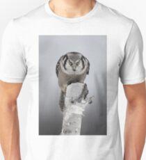 Hawk on log portrait - Northern Hawk Owl Unisex T-Shirt