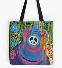 Peace Guitar - Hippie Abstract Art Tote Bag