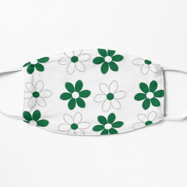 Green and White Flowers - School Colors Flat Mask