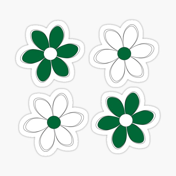 Green and White Flowers - School Colors Sticker