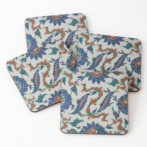 Tile with Floral and Cloud-band Design Coasters (Set of 4)