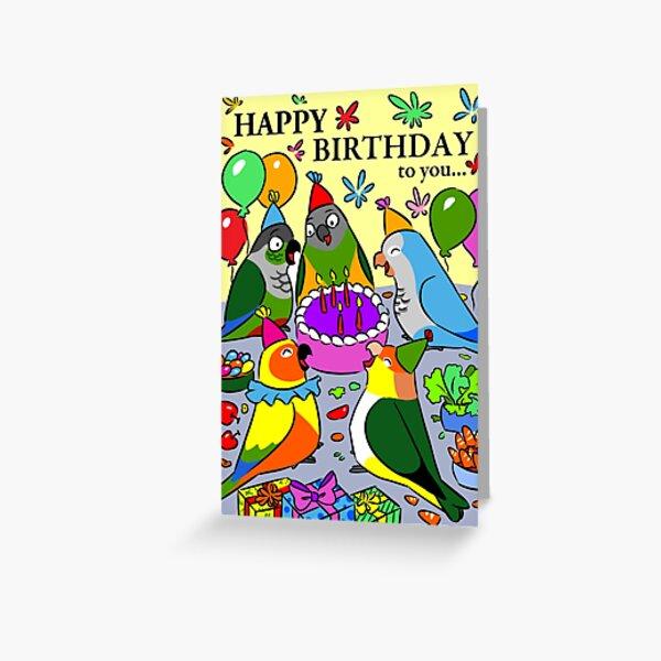 sun conure gcc quaker caique senegal parrot happy birthday Greeting Card