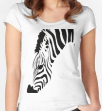 Grazing Zebra Vector Isolated On White Women's Fitted Scoop T-Shirt