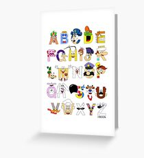 Breakfast Mascot Alphabet Greeting Card