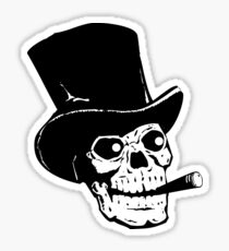 Black and white skull with tophat and cigar Sticker
