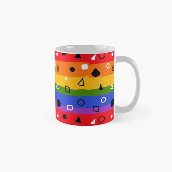 Pride stripes with triangles, circles , and squares Classic Mug