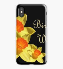 Daffodils Isolated On Black Birthday Wishes iPhone Case/Skin