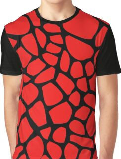 Giraffe Pattern (Red on Black) Graphic T-Shirt