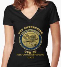PCU Enterprise Crest for Dark Backgrounds Women's Fitted V-Neck T-Shirt