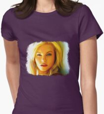 Elisha Cuthbert - Oil Painting Womens Fitted T-Shirt