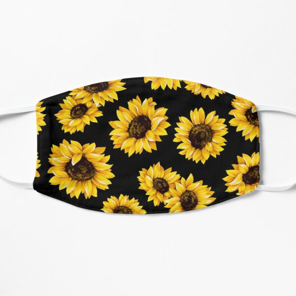 Sun flowers floral pattern - yellow flower Flat Mask