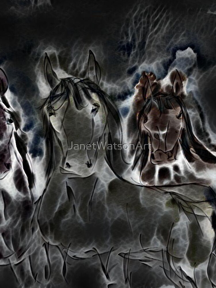 Three Horses Art 9 designed and created by (c) Janet Watson Art by JanetWatsonArt