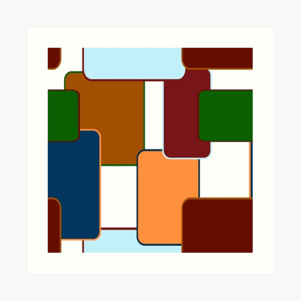 Retro Squares on white Art Print