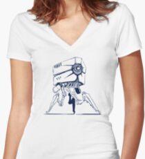 Robot tripod Women's Fitted V-Neck T-Shirt
