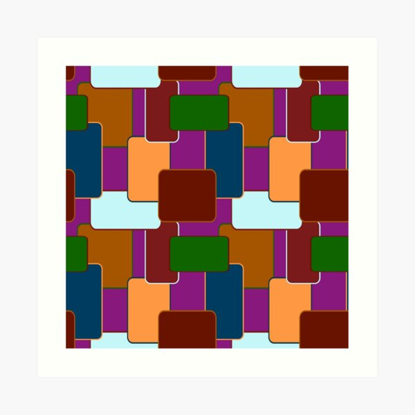 Retro Squares on purple Art Print