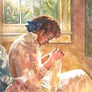 Lady Sewing by Ken Tregoning