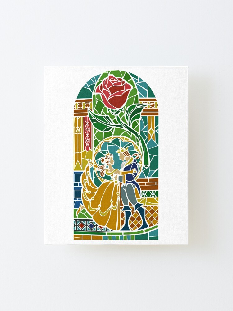 Beauty And The Beast Stained Glass Mounted Print By Hogies Redbubble