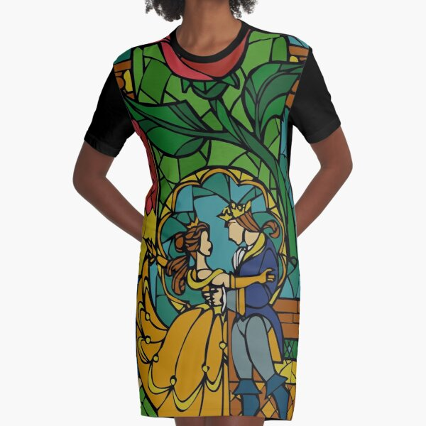 Beauty and The Beast - Stained Glass Graphic T-Shirt Dress