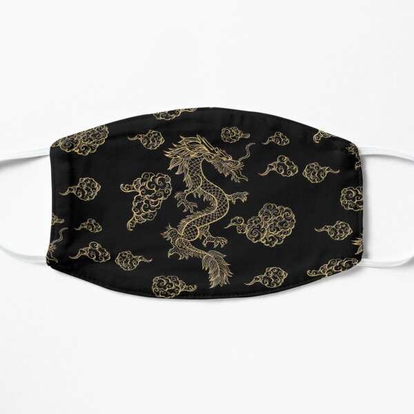 Golden Chinese Dragon Dancing Among the Clouds Mask