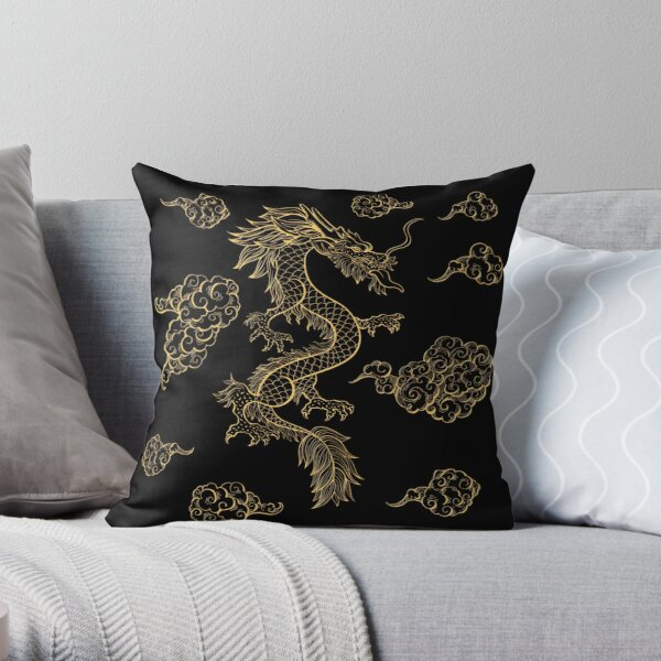 Golden Chinese Dragon Dancing Among the Clouds Throw Pillow