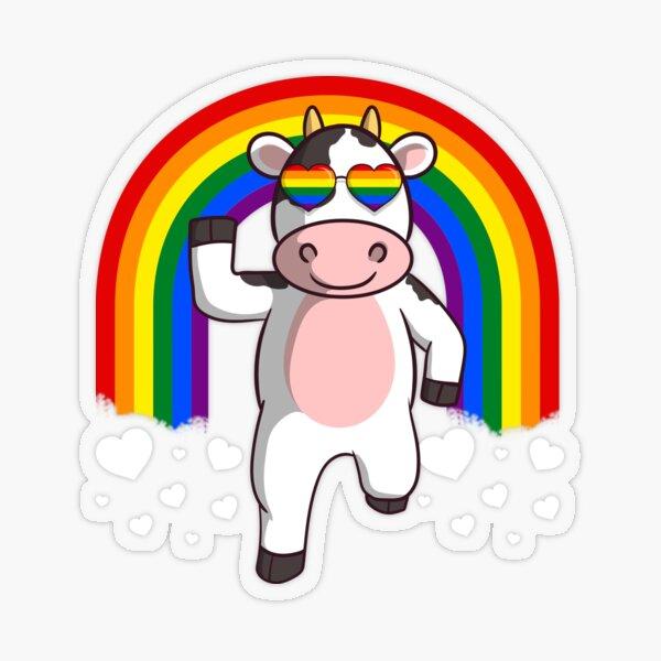 Gay Pride Rainbow Cow LGBT Transparent Sticker