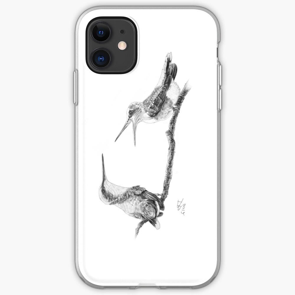 Ruby-Throated Hummingbird: Mother and Chick, 2012, Pencil iPhone Soft Case