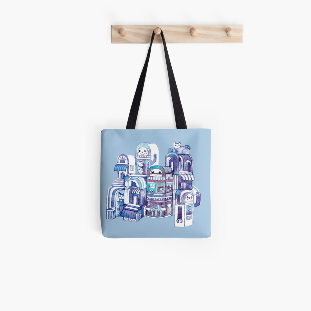 Cats in Robot Town Tote Bag