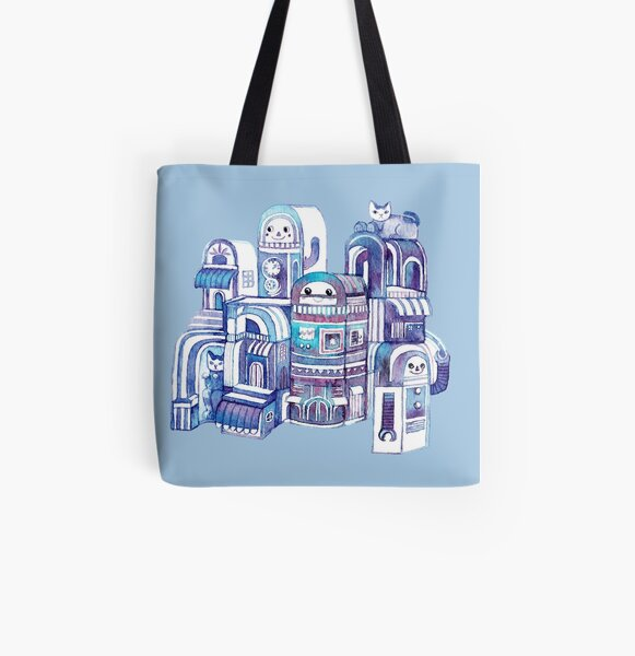 Cats in Robot Town All Over Print Tote Bag