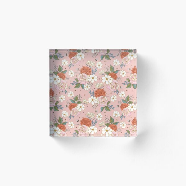 Retro Roses on Coral Pink Acrylic Block