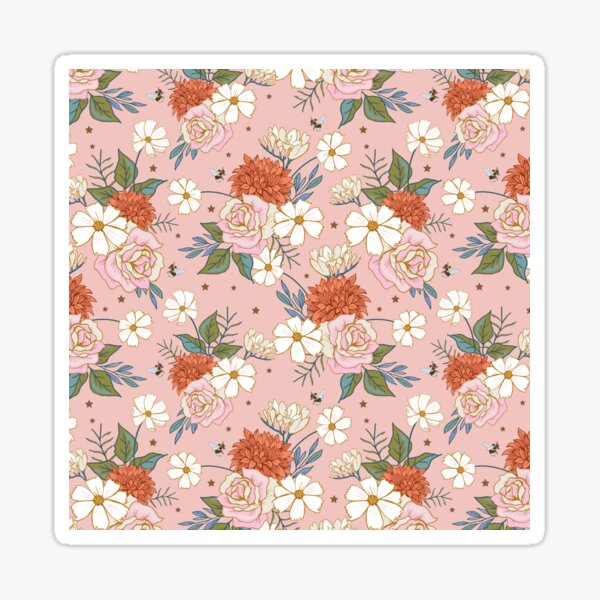 Retro Roses on Coral Pink Sticker