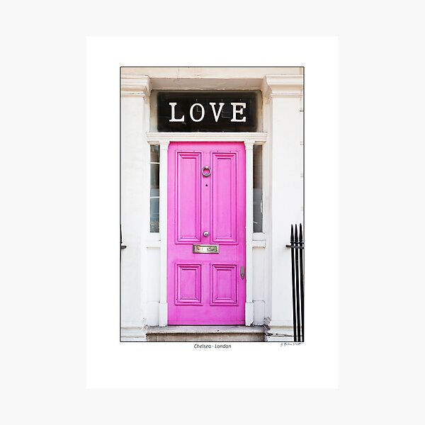 Pink door with letters 'LOVE', Chelsea, London Photographic Print