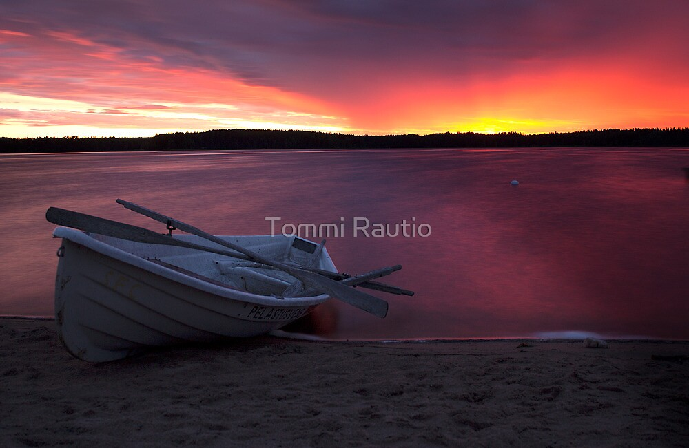 Life saving boat and beach by Tommi Rautio