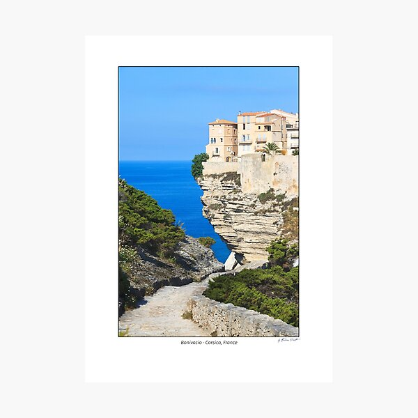 House on the cliffs, Bonifacio, Island of Corsica, France Photographic Print