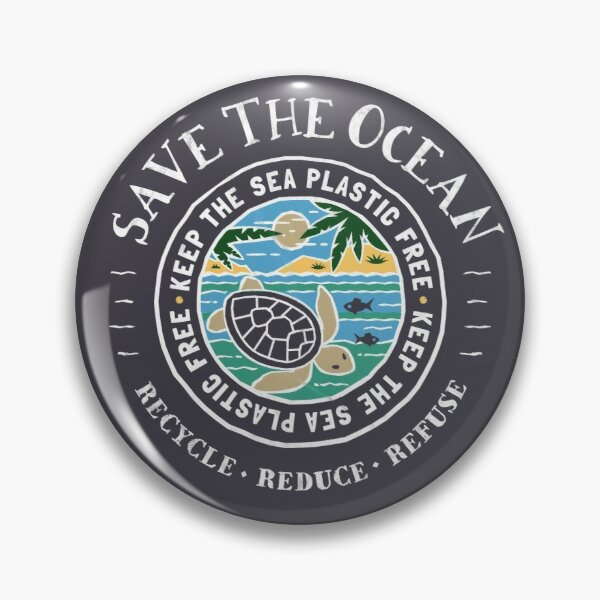 Save The Ocean Keep the Sea Plastic Free Turtle Scene Pin