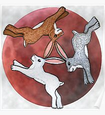 Three Hares Poster