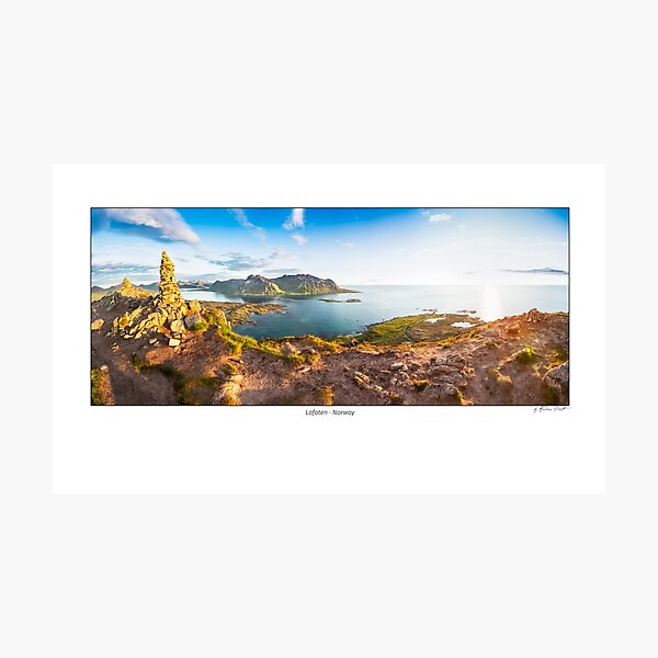 Panoramic image shot from the top of the Hoven mountain at midnight, Gimsøya island, Lofoten, Norway Photographic Print