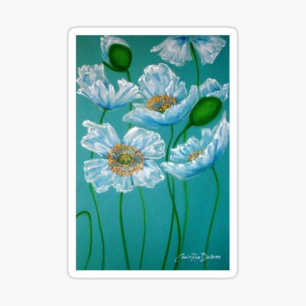White Poppies Sticker