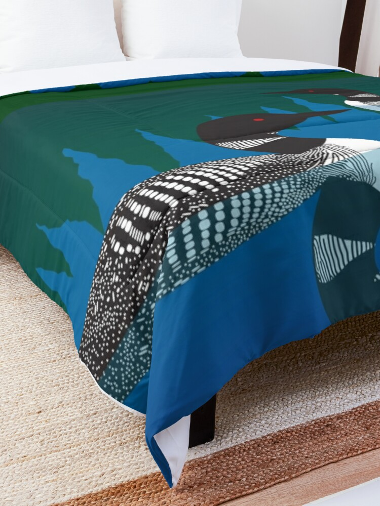 Alternate view of Loons on a Woodland Lake Comforter