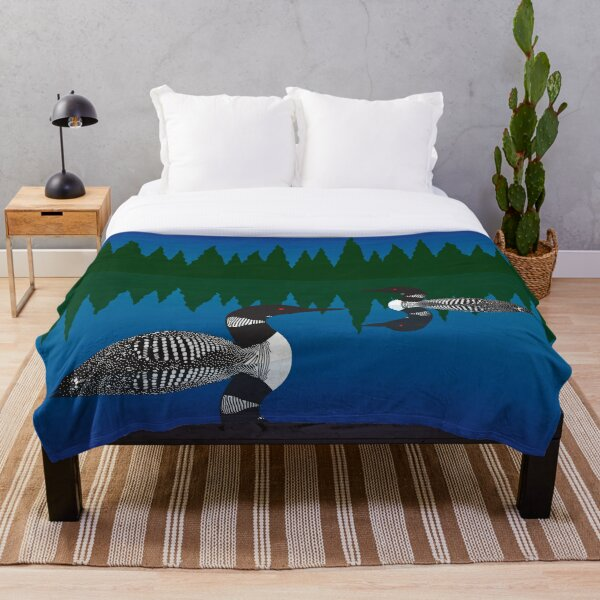 Loons on a Woodland Lake Throw Blanket