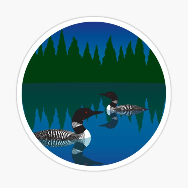 Loons on a Woodland Lake Sticker